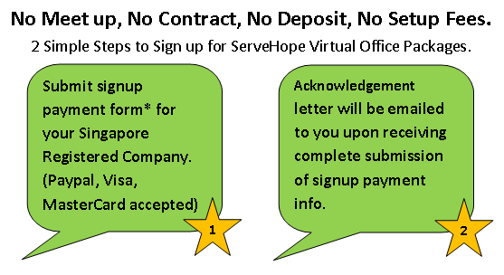 2 steps to signup ServeHope Virtual Office Packages